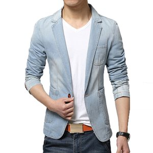 Spring Fashion Brand New Blazer Tendance Jeans Costumes Costume Casual Jean Slim Fit Denim Jacket Men