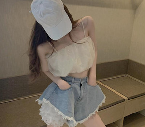 French Retro Suit Female Summer Lace Leggings New Denim High Waist Shorts Temperament Two-Piece Set Sexy Lady Girl Suit12