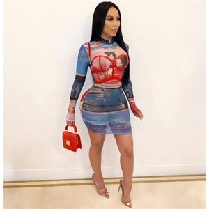 Skinny Female Clothing Digital Printed Womens Designer Dresses Long Sleeve Female Bodycon Dress Night Club
