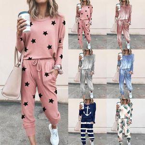 Mulheres Two Pieces solto Impresso Long Sleeve Calças Casual Suit Ladies Clothing Lazer Moda Outono E Winte New T19