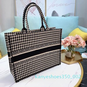 Bag New 2020 Houndstooth Shopping Quality Embroidered Canvas Book Shoulder High Tote Women K02 Handbag Tote Bags Bag Bags Bjbhh