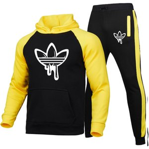 Neue Trainingsmode Herrensportswear Farbe Splice Hoodie Vetement Homme Jogging Trainingsanzug 2-teilig Hoodys + pants Markenentwerfer