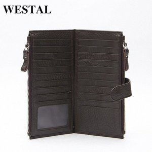 Wholesale WESTAL Genuine Leather Men Standard Wallets Man Double Zipper Wallet Mens Purse Clutch Bag Male Cowhide Leather Wallet 8057 8Dj8#