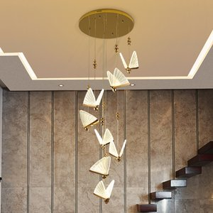 new modern staircase LED chandeliers living room lamp gold bar lights, project lighting AC 100-240V