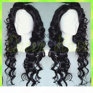 2016 free shipping body wave brazilian hair black color glue full lace human hair wig queen hair brazilian body wave lace wig