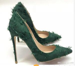 Neue Stil Maseled High-Heeled Fine Heel Grün Höckerschuhe Damen Shallow-Mund Einzelne Schuhe 8cm 12 cm 10 cm Große Größe 44 Braut Rotes Boden