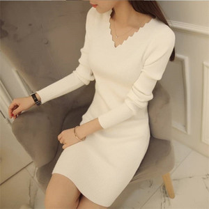 2020 Spring And Autumn V-neck Knitted Dress New Long-sleeved Slim Ladies White Sweater Mid-length Bottoming Shirt 0925