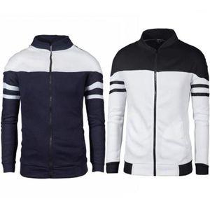Pure Cotton Color Contrast Jacket masculino Vestuário de luxo Casacos Stripe Mens Brasão Plus Size Imprimir Collar Autumn Zipper Vertical