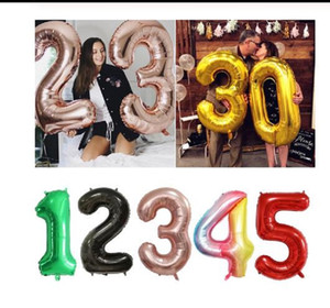 30 40inch Big Foil Birthday Balloons Helium Number Balloons Happy Birthday Party Decorations Kids Toy Figures Wedding Balloons