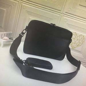 Üst Kalite Messenger Çanta Erkek Crossbody Çanta 2 Adet Set Moda Gerçek Deri Erkek Omuz Çantası ile Cüzdan Debriyaj Cüzdan Toz Torbası