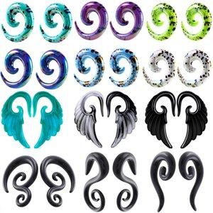 1 par de acrílico espiral del oído de la forma cónica Medidor de enchufe de oído del ala del ángel del oído del enchufe Camilla y el túnel de carne Expander Oreja Dilataciones