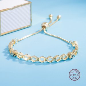 Hot Sale Beautiful Authentic 925 Sterling Silver gold color crystals chram Bracelet Bangle Fit Women Bead Charm DIY Pandora Jewelry