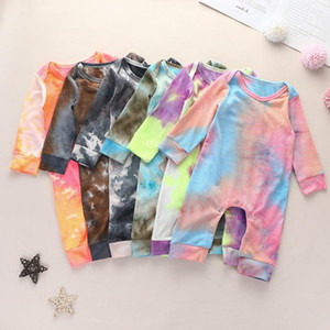 INS Newest Baby Boys Girls Rompers Ribbed Jumpsuits Tie Dyes Designer Newborn Baby Climb Clothes 0-2T