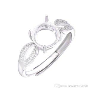Cgjxs semi anello di supporto delle impostazioni per la pietra rotonda con laterale Cz 8x8mm solido 925 regali di nozze sterlina delle donne sposa gioielli