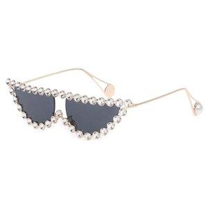 2020 2020 New Design Cat Eye Sunglasses Rhinestone Charming Fashion Women Female UV400 Metal Frame Pearl Lady Sun Glasses Sexy