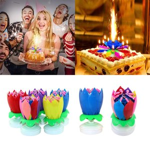 Birthday Candle Double Lotus Electronic Music Candle Birthday Party Decoration Supplies 14 Candles Lotus Flower Color Cake HHB1558