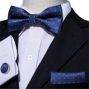 2020 Синий Боути для мужчин Slik бабочках Dots Мужской Шелковый Pre-связанный Bow Tie Свадебные Луки Бизнес для костюма смокинг LH-824 Barry.Wang
