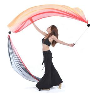 2pcs Silk Veil + 2 pièces POI chaîne boule de danse du ventre de la soie Veil POI Streamer Stage Jeté Balles Femmes de danse du ventre niveau des mains Prop