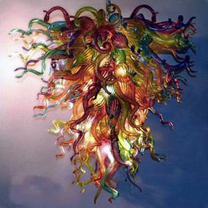 Arte de cristal de iluminación de luz LED Fuente de múltiples colores de techo de cristal de Murano lámpara de la lámpara para el hogar Lámpara colgante Lámpara colgante