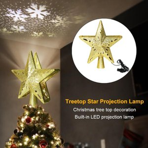 3D Twinkling Stars Christmas Treetop LED Light Christmas Home Party Decoration Pendant Rotating Snowstorm Projection Lamp New