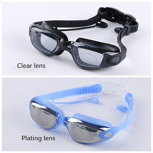 Professional Swimming Goggles Silicone Anti-fog UV Multicolor Swimming Glasses With Earplug for Men Women Water Sports Eyewear