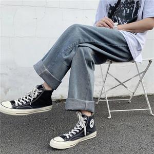 Осень 2020 Прямые джинсы мужские Молодёжная Простой Подвеска Wide Leg Pants помыться Технологии и голеностопного Щипцы штаны Большой размер S-3XL