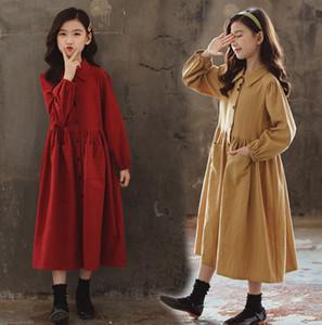 Big Girls vestido plissado Autumn New Kids lapela single-breasted Manga comprida vestido formal Estilo Crianças Cotton Casual Vestido 3-15T A4266