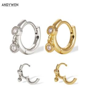ANDYWEN 925 Sterlingsilber-einfache Mittel Gold-Hoops Huggies Shaker Goldvermeil Huggie Kreis-Ring-runder Ohrring Schmuck