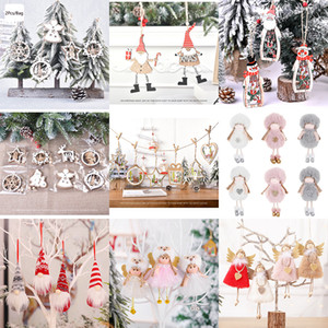 Christmas Tree Ornaments 8 Styles Christmas Decorations Wooden Pendant Plush Doll Pendant Santa Claus Snowman Ornaments HHE1368