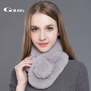 Gours Women's Real Fur Scarf High Quality Luxury Big Rex Fur Scarves Thick Warm Winter Fashion Brand New Arrival GLWJ005