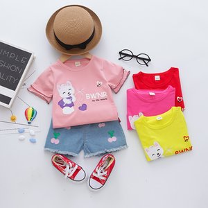 Baby infant suit Cartoon Toddler girls Summer Set Cartoon Cat T Shirt Short Jeans Children Clothing girls Suit Baby Tracksuit