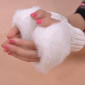 New Gloves Fashion Winter Pure Color Mittens Arm Women Warmer Wool Fur Fingerless Knitted Trim Gloves Striped Patchwork Mitten