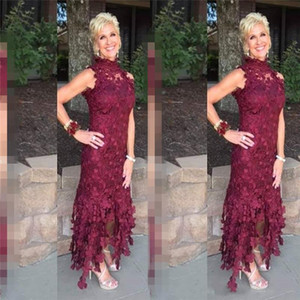 Elegant High Neck Mother of the Bride Dresses Lace Tea Length Formal Wedding Party Guests Gown Custom Made