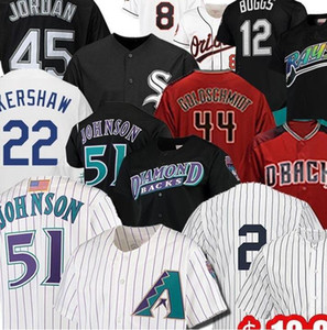 51 Randy Johnson Jersey 9 Javier Baez 20 Pete Alonso 12 Wade Boggs 44 Paul Goldschmidt Jeter Baseball Jerseys Piazza