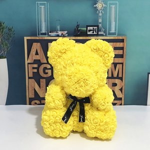 Wedding Customized Gift Multicolor Valentines Gift 40cm PE Yellow Rose Bear for Girlfriend Anniversary free shipping
