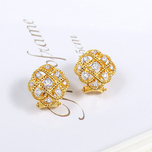 2020 new 925 Sterling Silver Jewelry Gold Color Louts Earrings Flower Earrings Luck Clover Design Wedding Party Silver Earrings