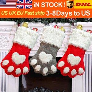 Yeni Noel Dog pençe yaratıcı büyük çorap Noel gri köpek ayakları çorap Noel çorap hediye torbası kırmızı