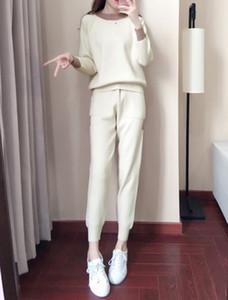 Frauen Winter Woll- und Kaschmir Muster Gestrickte Warme Anzug Oansatz Pullover + Hosen Trainingsanzug Zwei Teile Set Weibliche Sportanzüge