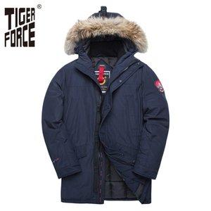 TIGER FORCE Alaska Winter-Jacke für Männer Parka Wasserdichte verdicken Mantel-Jacken mit Echtpelzhaube Männlich Snowjacke Outwear 200919