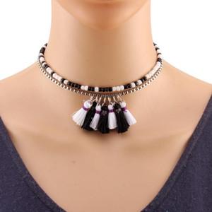 Declaración Florate Chunky de la borla de las mujeres de los collares diseño del collar babero múltiples capas de oro cadena de cuentas Gargantilla Online