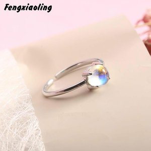 Cluster Rings Fengxiaoling 100% 925 Sterling Silver Simple Natural Stone Moonstone Open For Women Fashion Party Jewelry