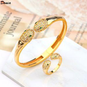 Donia Schmuck europäische und amerikanisches populäres doppelköpfige Schlange Mikro Intarsien Zirkonia Armband-Ring-Set Designer-Armband-Ring Set
