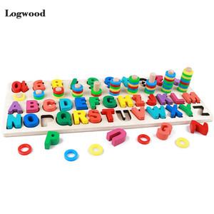 Детские деревянные игрушки Монтессори Math игрушки Counting цифровой письмо Познание Совпадение Паззл Развивающие игрушки Деревянные игрушки для детей LJ200907
