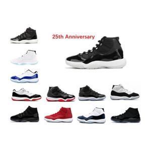 Баскетбол обувь 11s Anniversary двадцать пятых 11 созвучие 45 разводятся тренажерного зал красного пространства варенья Полночи Navy реальных углеродное волокно 11S кроссовки тренера