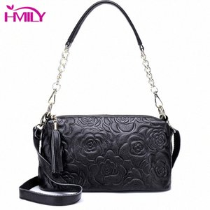 HMILY Genuine Leather Women Handbags Flowers Style Womens Messenger Bag Fashion Ladies Shoulder Bag Real Cowskin Crossbody m6bT#