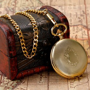 Luxury Gold Shlied Royal Pattern Mehcnaical Automatic Pocket Watch With 30 cm Chain Fob Watches For Men Women T200502