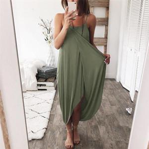 Femmes Robes lambrissé Natural Color Robes Casual Mode Slash sans manches Robes Femmes Vêtements Designer Asymétrique