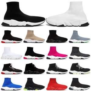 Sonderangebot 2019 Geschwindigkeit Trainer Luxusmarke Schuhe rot grau schwarz weiß Flache klassische Socken Stiefel Sneakers Damen Trainer Runner Größe 36-45