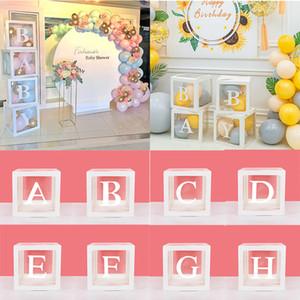 A-Z Alfabe Şeffaf Balon İsim Box Box Boy kız Babyshower düğün dekor 1st bir yıl partisi ambalaj