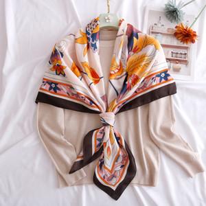 Women Leaf Printed Elegant Travel Shawl Hijab Twill Silk Bandana Handkerchief Wrap Big Size Square Silk Scarf 110 cm